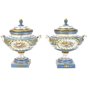 Pair Hand Painted Sevres Style Porcelain Bronze Urns Musical Decoration circa 1880