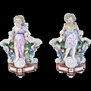 Pair Antique KPM Kister Scheibe-Alsbach Meissen Porcelain Angel Vases