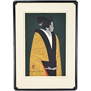 Kiyoshi Saito Japanese Woodblock Print Female Bunraku Puppet 1960
