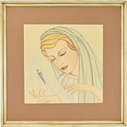Art Deco Watercolor Painting Beautiful Woman w Egret Bird sgnd Wilbert