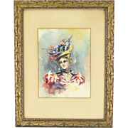 1896 Watercolor Painting Woman in Fabulous Hat signed Brookings