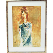 Vintage Mid-Century Modern Abstract Painting Young Woman w Elongated Neck