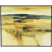 """Vintage Mid-Century Abstract Oil Painting """"Fields - Rovecin"""" Czechoslovakia by Duvall"""