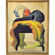 1944 Surrealist Abstract Gouache Painting Still Life w Lute Vase on Bench Signed