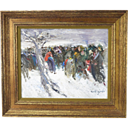 Vintage French Impressionist Oil Painting Refugees in Winter Signed