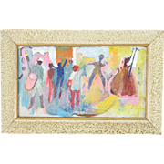 Vintage Mid-Century Modern Abstract Oil Painting Dancers Conga Player
