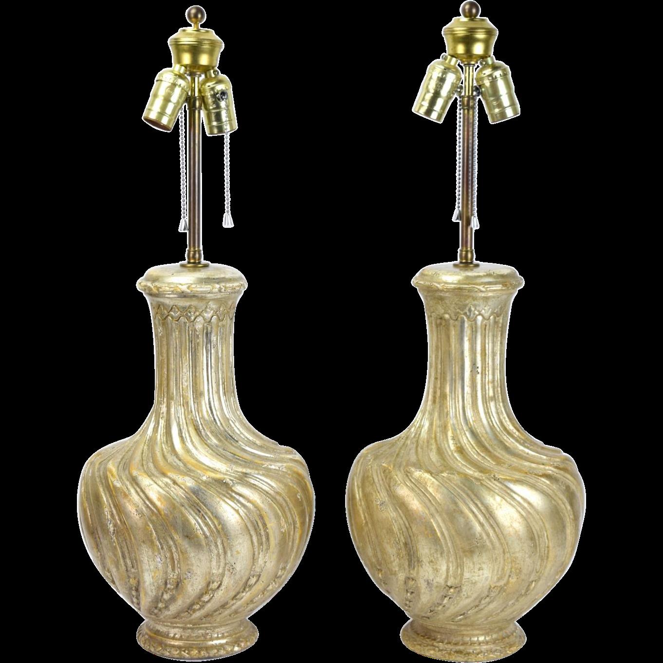 Pair Vintage Italian Style Argenta e Mecca Gilt Wood Vasiform Table Lamps