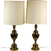 Pair Awesome Mid-century Eternal Flame Urn Lamps by Stiffel