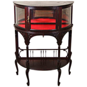 Vintage Mahogany Art Nouveau Demilune Cabinet Curio Display Case