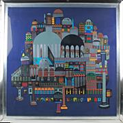 """CITADEL"" Limited Edition Modern Color Screenprint Israeli artist Ovadia Alkara"