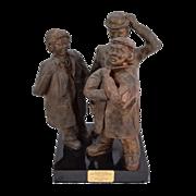 """Studio Art Pottery Sculpture """"Standing on the Corner"""" Neighborhood Characters"""