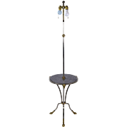 Chapman Nickle and Brass Rams Head & Hooved Floor Lamp W Marble Tray Table