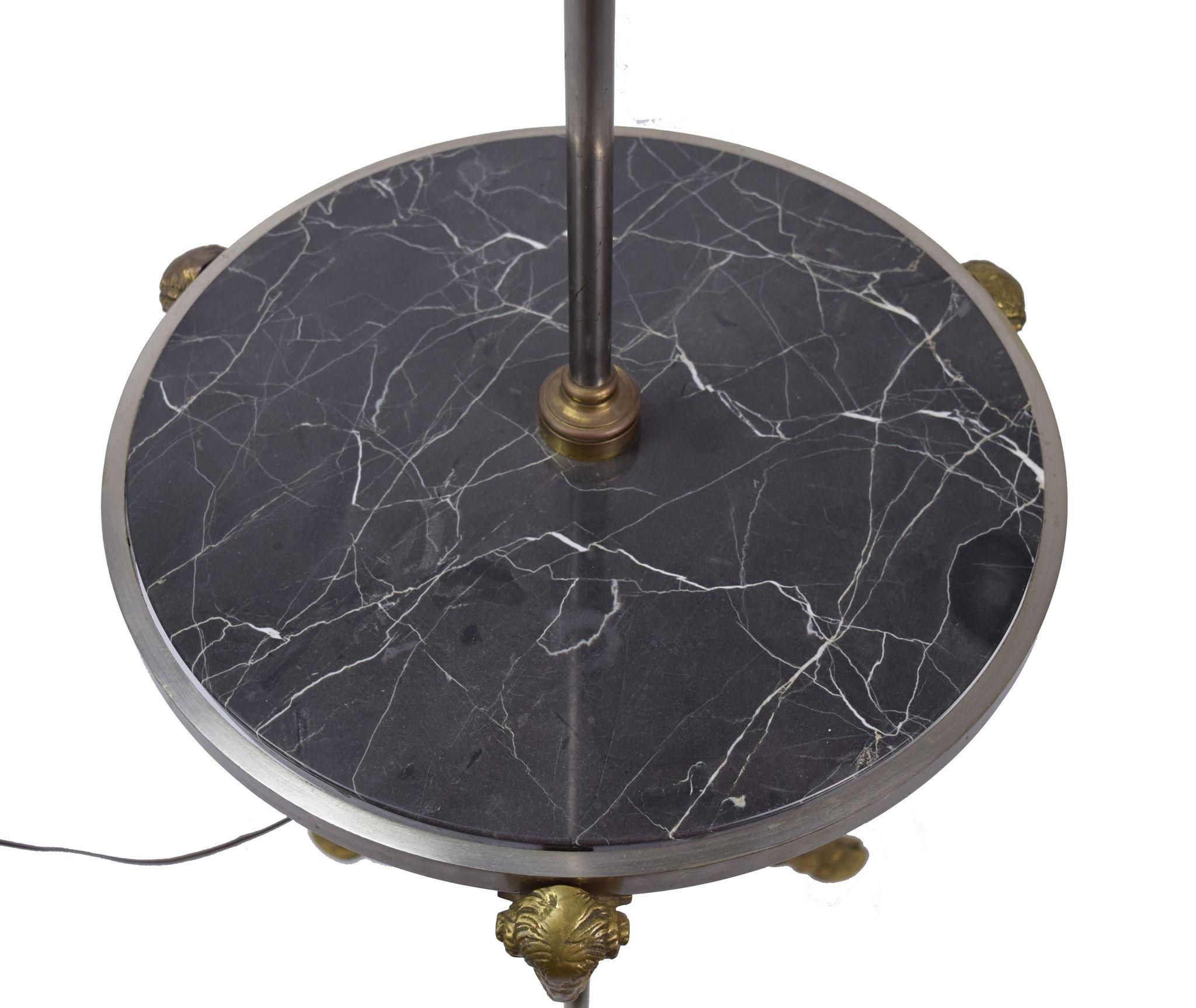 Brass Floor Lamp With Glass Tray Table: Chapman Nickle And Brass Rams Head & Hooved Floor Lamp W