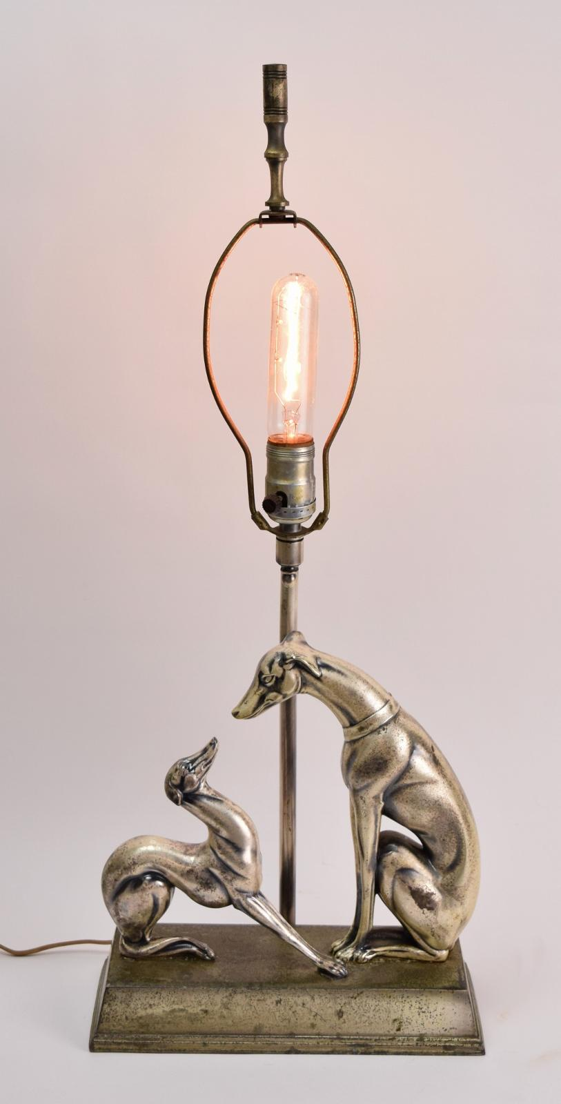 1930 s art deco whippet greyhound dog w pup nickel finish. Black Bedroom Furniture Sets. Home Design Ideas