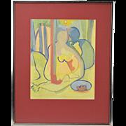 1963 Mid-Century Abstract Nudes Gouache Painting Jose Bernal Cuban Artist