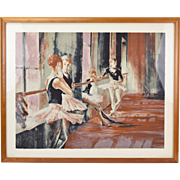 Ruth Weisberg Interlude L/E Color Lithograph Ballet Students in Dance Studio