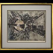 "Mid-Century Modern Abstract L/E Lithograph ""Fertilization II"" signed Heyman"
