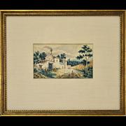 Antique German Watercolor Circa 1837 Village Scene with Figures