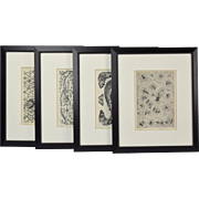 "Set 4 ""Bestiarie"" (sic) Bestiary Limited Edition Etchings of Insects Fish"