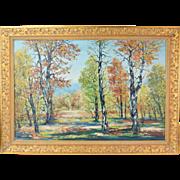 1955 Impressionist Oil Painting Strawbridge Lake, Moorestown by Ricciardi Philadelphia