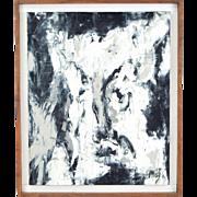 Vintage Mid-century Modern Abstract Portrait Harry Mintz Polish Chicago Artist