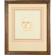 1932 Pencil Portrait of Young Woman w Cloche or Headscarf  Miller Ohio