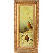 Victorian Oil Painting Depicting Birds Sitting on Branch amidst Winter Landscape