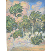 1930's French Impressionist Oil Painting Tropical Sandstorm by Pottier