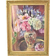 1930's Depression Still Life Painting Samurai Vase with Flowers signed Anderson