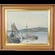 Vintage Impressionist Painting Boats at Grundshund Sweden by Christensen