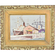 Mid-Century Impressionist Oil Painting Industrial Wharf Scene by Shigeo Wakaishi
