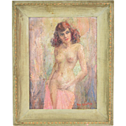 """Lottie"" Vintage Mid-Century Impressionist Nude Oil Painting by Keister Chicago"