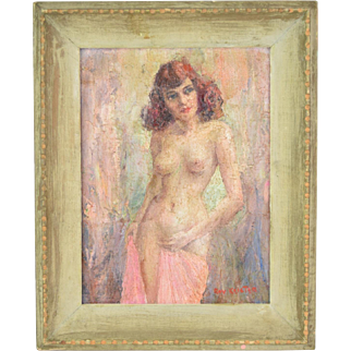 """""""Lottie"""" Vintage Mid-Century Impressionist Nude Oil Painting by Keister Chicago"""