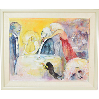"Thom Kapheim ""Dinner Asides"" Oil Painting Cat Stealing Chicken from Formal Dinner"