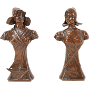 Circa 1900 Pair Spelter Bronze Sculptures Busts of Dutch Ladies