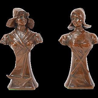 Circa 1900 Pair Spelter Bronze Sculptures Busts of Dutch Ladies