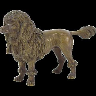 Antique Circa 1900 Austrian Bronze Groomed Poodle Dog Figure