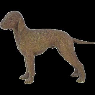 Antique Circa 1900 Austrian Bronze Bedlington Terrier Dog Figure