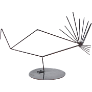 Vintage Modern Wire Turkey or Peacock Sculpture signed JE