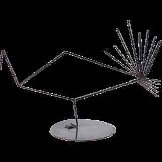 Vintage Modern Wire Turkey or Peacock Sculpture signed JE