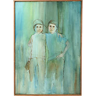 1971 Abstract Oil Painting Portrait of Two Young Brothers signed Harrigan