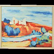 Vintage Mid-Century Modern Abstract Landscape signed Popovici