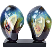 Italian Abstract Double Calcedonia Art Glass Sculpture Loredano Rosin Murano
