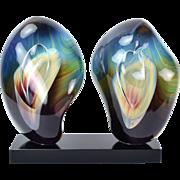 Italian Abstract Double Calcedonia Art Glass Sculpture Loredano Rosin Murano
