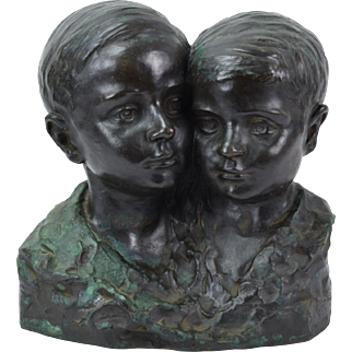 1925 Bronze Bust of Two Young Brothers in Buenos Aires Alfredo Gualdi Italian