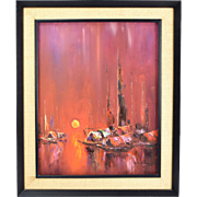 Chinese Mid-Century Modern Abstract Painting Houseboats at Sunset by Chan