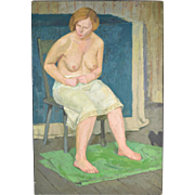 Oil Painting Portrait Nude Woman in Slip by Victor Lasuchin Russian American