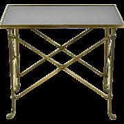 Global Views Neoclassical Directoire Brass Side End Table Black Granite Top