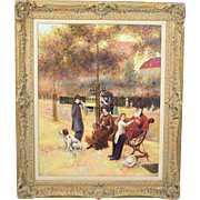 Vintage Impressionist Oil Painting 19th Street Scene Family w Dog Signed Adams