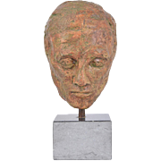 1970's Vintage Bizarre Pottery Bust of Man's Head on Granite Base
